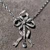 1.98ctw Edwardian Fancy Pave Bow Necklace 17