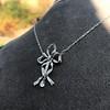 1.98ctw Edwardian Fancy Pave Bow Necklace 18