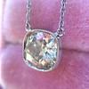 2.01ct Cushion Cut Diamond Bezel Necklace 17