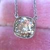 2.01ct Cushion Cut Diamond Bezel Necklace 18