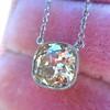 2.01ct Cushion Cut Diamond Bezel Necklace 15