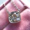 2.01ct Cushion Cut Diamond Bezel Necklace 26