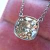 2.01ct Cushion Cut Diamond Bezel Necklace 11