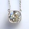 2.01ct Cushion Cut Diamond Bezel Necklace 2