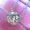 2.01ct Cushion Cut Diamond Bezel Necklace 16