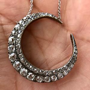3.18ctw Victorian Diamond Crescent Pendant