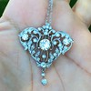 3.98ctw Edwardian Old European Cut Diamond and Platinum Pendant 4