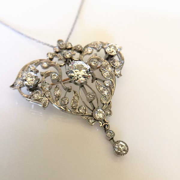 398ctw edwardian old european cut diamond and platinum pendant more views mozeypictures Gallery