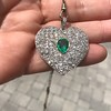 7.08ctw Art Deco Pave Diamond and Emerald Heart Pendant 6