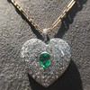 7.08ctw Art Deco Pave Diamond and Emerald Heart Pendant 14