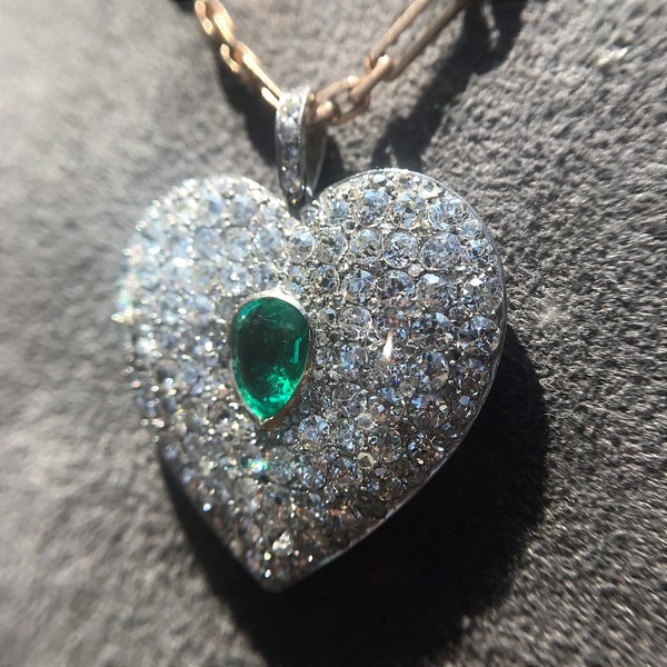 708ctw art deco diamond and emerald heart pendant jewels by grace more views 708ctw art deco pave diamond and emerald heart pendant 0 aloadofball