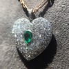 7.08ctw Art Deco Pave Diamond and Emerald Heart Pendant 4