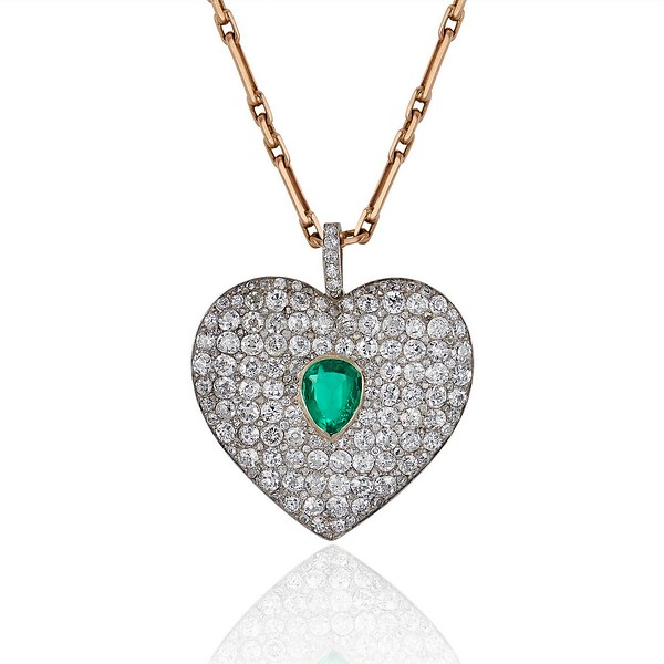 708ctw art deco diamond and emerald heart pendant jewels by grace more views 708ctw art deco pave diamond and emerald heart pendant 0 aloadofball Images