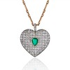 7.08ctw Art Deco Pave Diamond and Emerald Heart Pendant 0