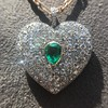 7.08ctw Art Deco Pave Diamond and Emerald Heart Pendant 10