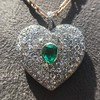 7.08ctw Art Deco Pave Diamond and Emerald Heart Pendant 5