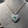7.08ctw Art Deco Pave Diamond and Emerald Heart Pendant 18