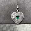 7.08ctw Art Deco Pave Diamond and Emerald Heart Pendant 7