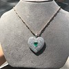 7.08ctw Art Deco Pave Diamond and Emerald Heart Pendant 2