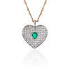 7.08ctw Art Deco Pave Diamond and Emerald Heart Pendant 20