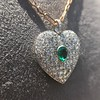 7.08ctw Art Deco Pave Diamond and Emerald Heart Pendant 13