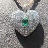 7.08ctw Art Deco Pave Diamond and Emerald Heart Pendant 11