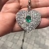 7.08ctw Art Deco Pave Diamond and Emerald Heart Pendant 8