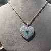 7.08ctw Art Deco Pave Diamond and Emerald Heart Pendant 19