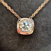 .77ct Old Mine Cut Rose Gold Bezel Pendant 1