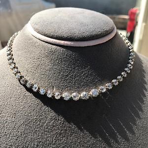 9.20ctw Victorian Riviere Diamond Necklace