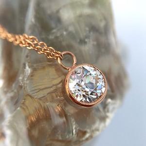 92ct old european cut diamond pendant necklace gia k vs2 14kt 92ct old european cut diamond bezel pendant gia k vs2 mozeypictures Gallery