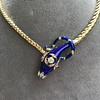 Antique Enamel and Diamond Serpent Necklace 15