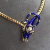 Antique Enamel and Diamond Serpent Necklace 16