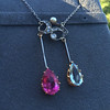 Antique Tourmaline and Aquamarine Negligee Pendant 10