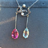 Antique Tourmaline and Aquamarine Negligee Pendant 7
