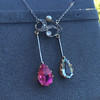 Antique Tourmaline and Aquamarine Negligee Pendant 13