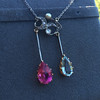 Antique Tourmaline and Aquamarine Negligee Pendant 12