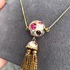 Enamel and Tassel Burmese Ruby Necklace 5