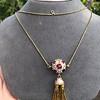 Enamel and Tassel Burmese Ruby Necklace 3