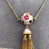 Enamel and Tassel Burmese Ruby Necklace 7
