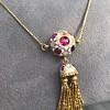 Enamel and Tassel Burmese Ruby Necklace 6