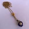 Victorian Enamel Pendant, Slider Chain 17