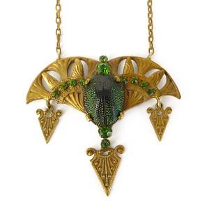 Antique Victorian Egyptian Revival Scarab Jugendstil Gold Pendant Necklace