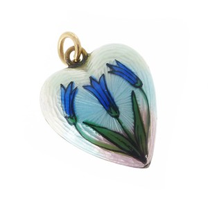 Antique Edwardian 9ct Gold Enamelled Bluebell Puffy Heart Charm