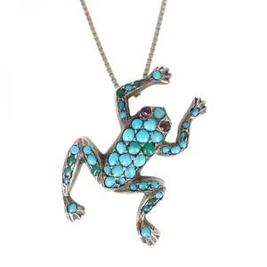 Antique Edwardian Silver Pavé Turquoise Frog Pendant Necklace