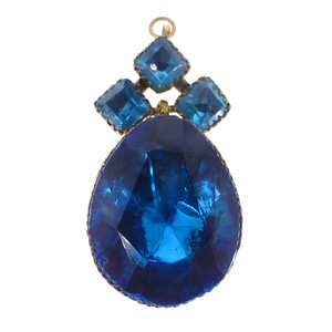 Antique Georgian Queen Anne Teal Blue Paste Pendant