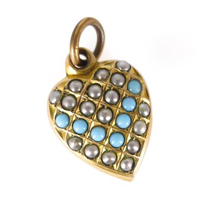 Antique Edwardian Rolled Gold Pearl & Turquoise Glass Heart Charm