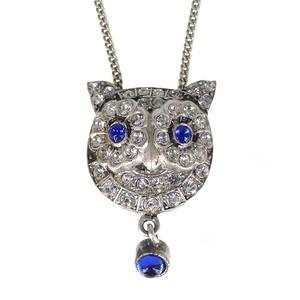 Antique Victorian Paste Owl Clip Pendant Necklace