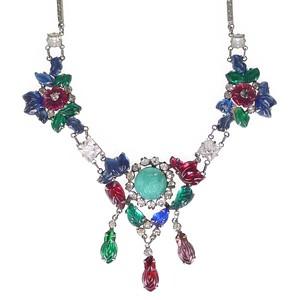 Antique Art Deco Silver 'Tutti Frutti' Fruit Salad Floral Glass Chain Necklace