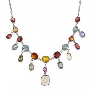 Antique Arts & Crafts Semi Precious Silver Festoon Necklace